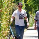 Robert Pattinson and Best Bud Tom Sturridge Take Bear, the Dog, on a Walk!