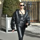 Hailey Bieber in Leather – Head to the Dior Fashion Show in Paris