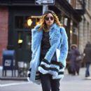 Suki Waterhouse in Blue Fur Coat out in Soho February 3, 2017 - 454 x 634