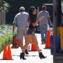 Vanessa Hudgens In Denim Shorts At Sony Studios In La