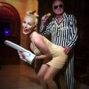 Hugh Hefner, Crystal Harris dress as Miley Cyrus and Robin Thicke - 454 x 605