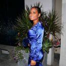 Christina Milian – In Royl Blue Dress at Mastro's restaurant in Beverly Hills - 454 x 681