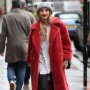 Megan McKenna in Red Coat – Exits Kiss FM radio in London