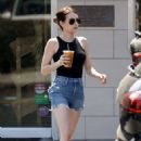 Emma Roberts in Jeans Shorts – Out in Los Feliz