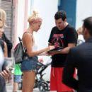 Pixie Lott in Denim Shorts Out in Barcelona - 454 x 671