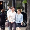 Kate Mara in Mini skirt with Jamie Bell out in Paris - 454 x 667