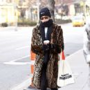 Kaia Gerber in Animal Print Coat – Out in New York City
