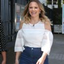 Kimberley Walsh in Jeans Skirt at ITV Studios in London - 454 x 791