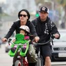 Pink going on a bike ride with her husband, Carey Hart, and their daughter Willow in Los Angeles, California (July 2)