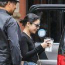 Vanessa Hudgens In Denim Shorts Leaving Her Apartment In Nyc