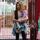 Jessica Alba & Cash Warren take their daughters Honor and Haven to a park (September 11, 2014)