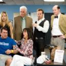 (Left to right, rear) Ivy Selleck (Jordana Spiro) and her father Ben (James Brolin) are relying on used car salesmen Don Ready (Jeremy Piven) and Brent Gage (David Koechner) to keep their dealership afloat while - left to right, front - Ben's son Pete