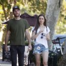 Lily Collins in Jeans Shorts and Charlie Mcdowell – Out in Los Feliz - 454 x 681