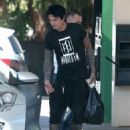 Rocker Tommy Lee stops for gas at a gas station in Calabasas, California on July 12, 2016 - 454 x 590