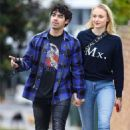 Sophie Turner and Joe Jonas walking around in Sydney