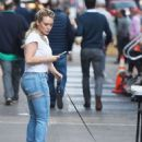 Hilary Duff – Arriving with her puppy to the set of 'Younger' in New York - 454 x 682