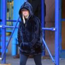 Ashley Benson in Black Coat and Tights – Out and about in NYC December 11, 2017