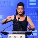 Actress Pauley Perrette speaks to the audience at the 'Human Rights Campaign 2016 Los Angeles Gala' held at the JW Marriott Los Angeles at L.A. LIVE on March 19, 2016 in Los Angeles, California - 454 x 339