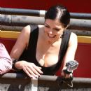 Adrianne Curry In Mini Dress At Universal Studios Hollywood