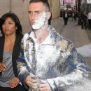 Adam Levine got sugar-bombed outside of Jimmy Kimmel Live on Wednesday, May 6,2015