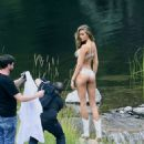 Josephine Skriver Shooting a commercial for Victoria Secret's upcoming holiday catalog in Aspen - 454 x 598