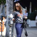 Dakota Johnson in Blue Tight at Cafe Midi in NY