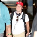 Josh Hutcherson was spotted landing at the Los Angeles International Airport yesterday, July 6