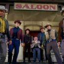 Left to right: stuntmen Bob Miles, Bob Herron, Whitey Hughes, actor Michael Dunn, stuntman John Hudkins, Bill Shannon, and actor Quintin Sondergaard. - 454 x 339