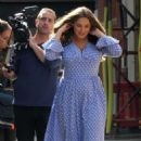 Kelly Brook in Long Dress – Filming in London