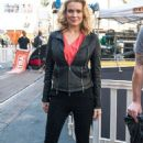 'The Walking Dead' actress Laurie Holden at The Grove to do an interview with Maria Menounos for the show EXTRA in Los Angeles, California on February 26, 2013