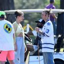 Hailey Bieber – With Justin Bieber on the set of a music video in Miami