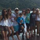 Marcela and Manoela Fragali, their father Marcelo de Carvalho with his youngest son Lorenzo, wife Luciana Gimenez, stepson Lucas Jagger, son Marco Fragali and father Edro - 2014