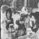 1970 - T-Rex singer Marc Bolan, his wife-to-be June Ellen Child and Alice Ormsby-Gore having fun at Eric Clapton's house in Surrey. Found via Steve Moon's (moonmarc1961) photobucket - 454 x 634