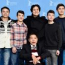 (back L-R) Actors Madiyar Aripbay, Nurlybek Saktaganov, director Emir Baigazin, actors Omar Adilov and Madiyar Nazarov and Kanagat Taskaraev attend the 'The Wounded Angel' (Ranenyy Angel) photo call during the 66th Berlinale International Film Festival Be - 454 x 302