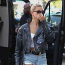 Hailey Baldwin in Jeans Shorts – Out in Hollywood