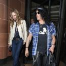 Saul Hudson aka Slash, Trinny Woodall and her ex-husband Johnny Elichahaoff have dinner at C London restaurant