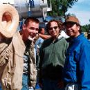 Jim Carrey with directors/co-screenwriters Bobby Farrelly and Peter Farrelly on the set of 20th Century Fox's Me, Myself & Irene - 2000