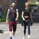 Behati Prinsloo and Adam Levine – Heads to morning Pilates workout in Studio City - 454 x 488