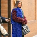 Gabrielle Union is seen wearing a multi-colored fur coat while leaving 'The View' in New York City, New York on January 10, 2017 - 404 x 600