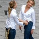 Cameron Diaz, having a laugh with her $tunt Double, Kimberly Shannon Murphy