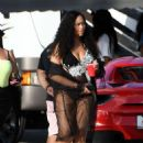 Jordyn Woods on the set of a music video in Miami