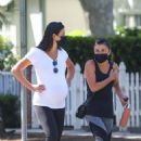 Lea Michele – Shows baby bump while walk with mother Edith in Santa Monica