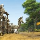 """An unfortunately attired Alex the lion (right, BEN STILLER) calls Marty the zebra (center, CHRIS ROCK) away from his herd of look-alike pals in DreamWorks' """"Madagascar: Escape 2 Africa."""" Photo credit: Madagascar: Escape 2 Africa ™ & © 20"""