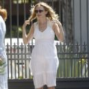 Heather Graham in White Dress – Arriving at a friend's house in Malibu - 454 x 681