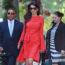 Amal Clooney in Red Dress – Out in NYC - 454 x 682