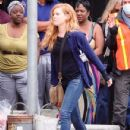 Amy Adams Performs on the Set of 'Sharp Objects'