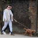 Kelly Brook – Takes a dog walk with boyfriend Jeremy Parisi in London