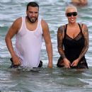 Amber Rose and French Montana on the beach in Miami, Florida - May 14, 2017 - 454 x 453