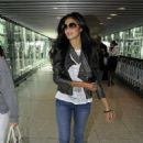 Nicole Scherzinger flying out of Heathrow Airport in London to Los Angeles (July 21)