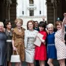 Left to Right: Nicola Duffett as Eileen, Andrea Riseborough as Brenda, Geraldine James as Connie, Miranda Richardson as Barbara Castle, Sally Hawkins as Rita, Jaime Winstone as Sandra, and Lorraine Stanley as Monica. Photo by Susie Allnutt, Courtesy of So
